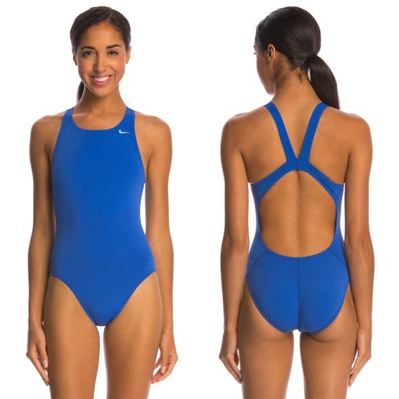 Nike Women s Solid Blue Poly Fastback One Piece. M 5ad93b2f739d481b2bdd73c3 f7b337ba3b